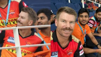 David Warner Supports SRH From The Stands